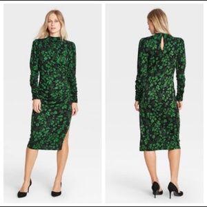 Who What Wear Green Black Floral Print Dress XS